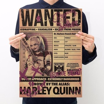 Vintage Harry Quin Wanted Clown Poster Room Decor Stickers Wall Decor Painting Kraft Paper Home Decor Wall Sticker Movie Poster image