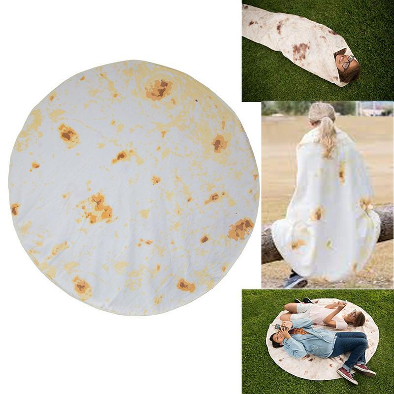 Blankets Anti Slip Round Tortilla Blanket 180cm Round Burrito Small Carpet Office Home Living Room Bedroom Camping Picnic Outdoor P40