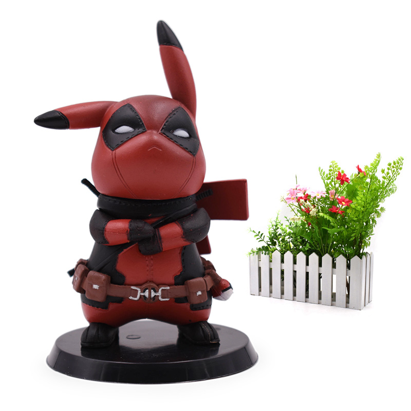 Anime Q Ver Deadpool Pikachu Cosplay Deadpool Action Figure PVC Figurine Collectible Model Christmas Gift Toy For Children figurine