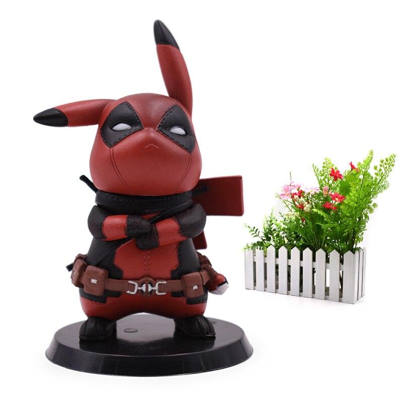 Anime Q Ver Deadpool Pikachu Cosplay Deadpool figura de acción de PVC figura de colección modelo de juguete de regalo de Navidad para los niños