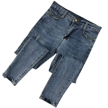2019 Spring New Fashion Women Ripped Holes Pencil Pants High Waist Slim Elastic Skinny Pants Trousers Fit Lady Jeans Plus Size spring new women jeans slim elastic straight trousers ladies fashion full length casual jeans plus size blue skinny pencil pants