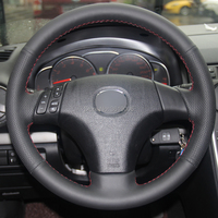 For Old Mazda 3 Mazda 5 Mazda 6 2003 2009 Hand stitched Anti Slip Black Leather Red Thread DIY Steering Wheel Cover