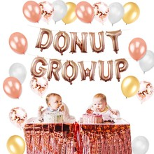 Donut Birthday Party Decorations Set Backdrop Grow Up Mylar Foil And Latex Balloons Kids Supplies