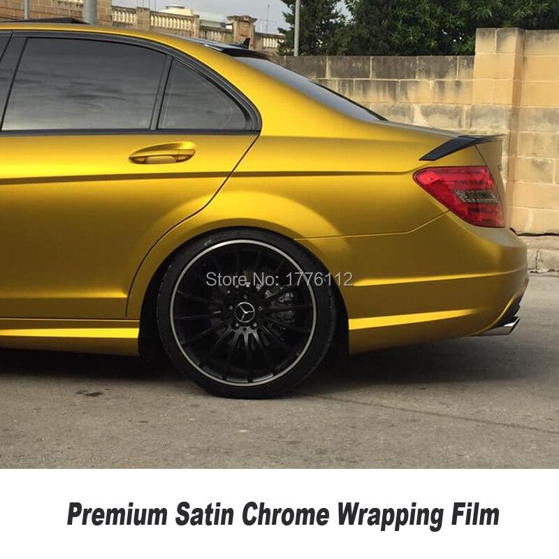 Рекомендуем Премиум золото Атлас матовый металлик хром винил автомобиля обёрточная бумага Стикеры плёнки пузырьков несколько цвет произв