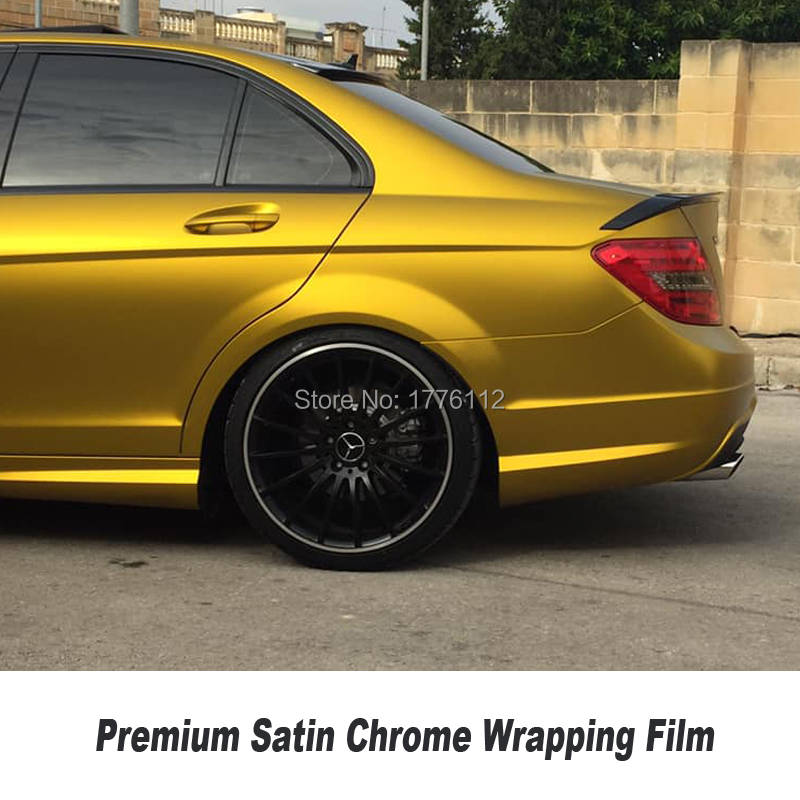 Рекомендуем Premium gold сатиновый матовый металлический хромированный винил автомобиля самоклеящаяся оберточная бумага пленка пузырьков неск