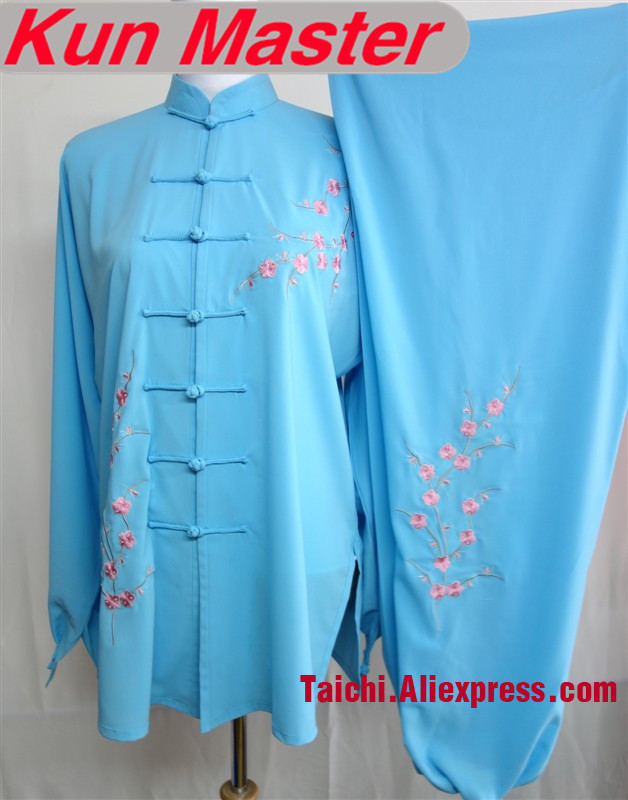 Custom Tai Chi Performance Uniform Plum Blossom Embroidery   Kung Fu  Clothes According Your Height And Weight Blue Color