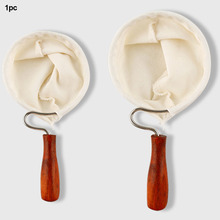 Portable Hand Washed Filter Bag Practical Strainer Wood Handle Flannel Bag Detachable Kitchen Anti-scald Reusable Easy Clean