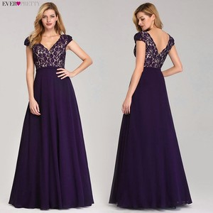 Image 2 - Bonito vestido De noche De encaje largo De 2020 con cuello en V y mangas cortas EP07344BK