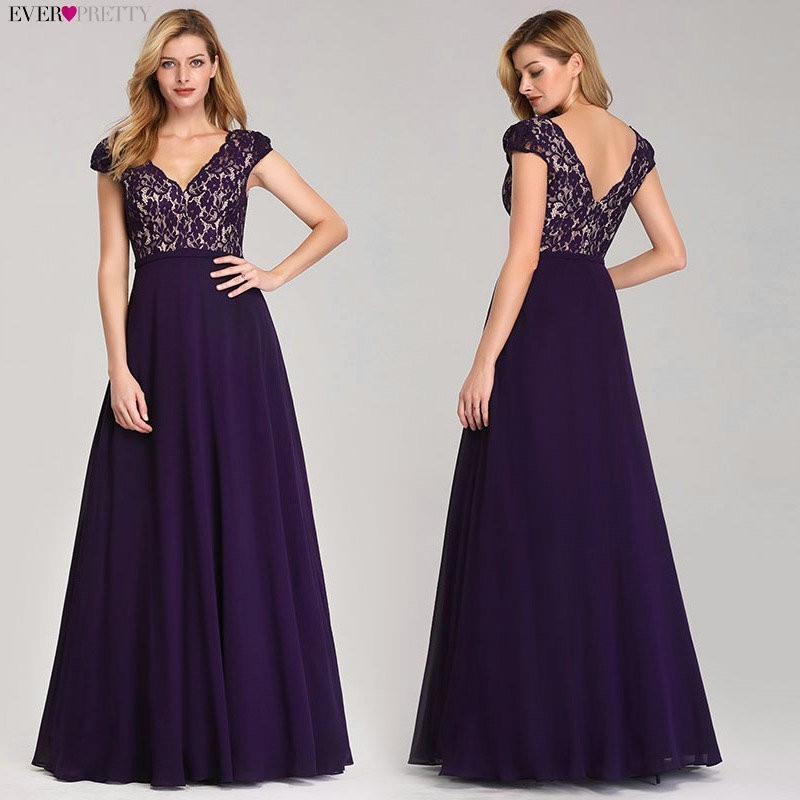 Ever Pretty Robe De Soiree 2019 Long Lace   Evening     Dresses   Elegant A Line V-Neck Short Sleeves Black Formal Party Gowns EP07344BK