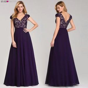 Image 2 - אי פעם די Robe De Soiree 2020 ארוך תחרה ערב שמלות אלגנטי קו V צוואר קצר שרוולים שחור צד פורמלי שמלות EP07344BK