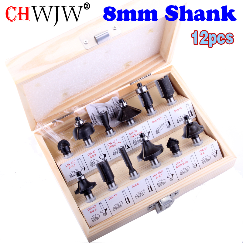 12pcs 8mm Shank Router Bits Set Professional Shank Tungsten Carbide Router Bit Cutter Set With Wooden Case For Woodworking Tools