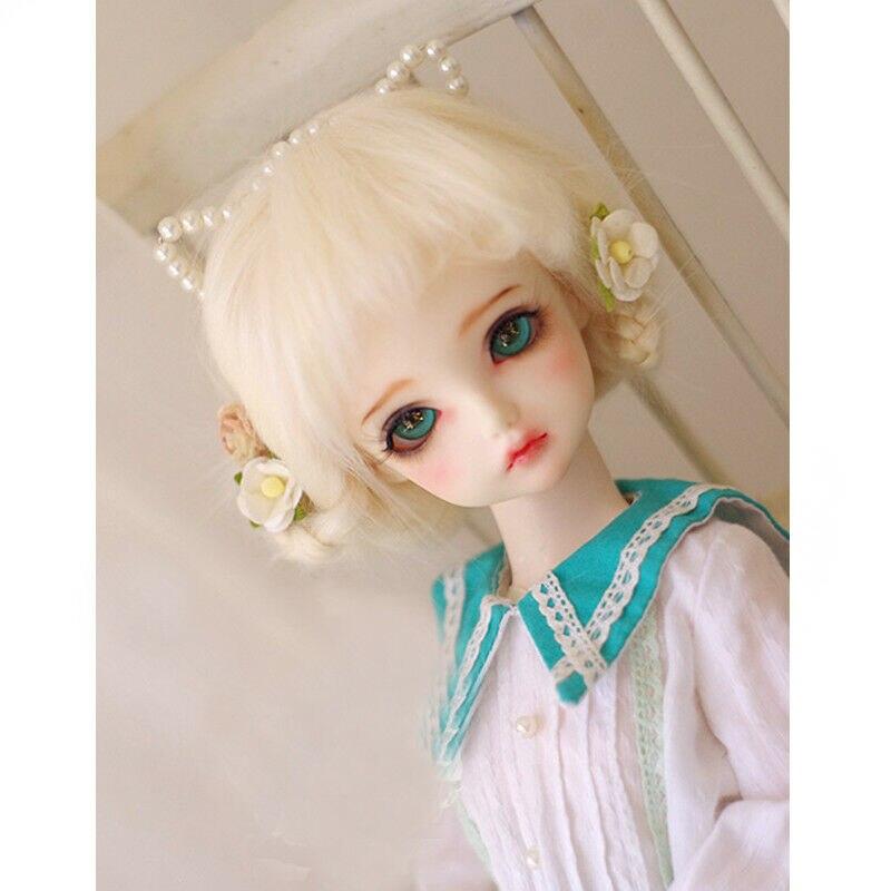 PF Hair Suitable For 1//8 Pukifee AE Lati BJD Dollfie12cm Beige Long Wool Wig