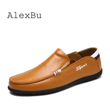 AlexBu 2019 New Men's Genuine Leather Shoes Man Casual Loafers Shoes Slip On Spring Autumn Fashion Luxury Brand Man Shoes
