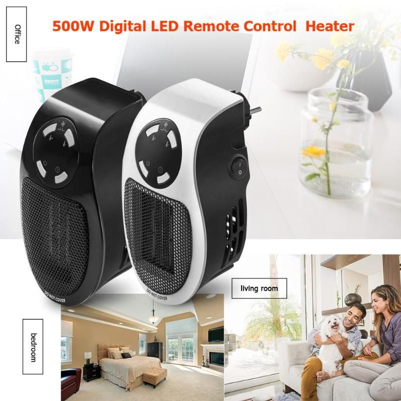 Portable 500W Mini Fan Heater Warmer Machine Wall Digital LED Remote Control Electric Heater Fan Heater for Winter Home OfficePortable 500W Mini Fan Heater Warmer Machine Wall Digital LED Remote Control Electric Heater Fan Heater for Winter Home Office