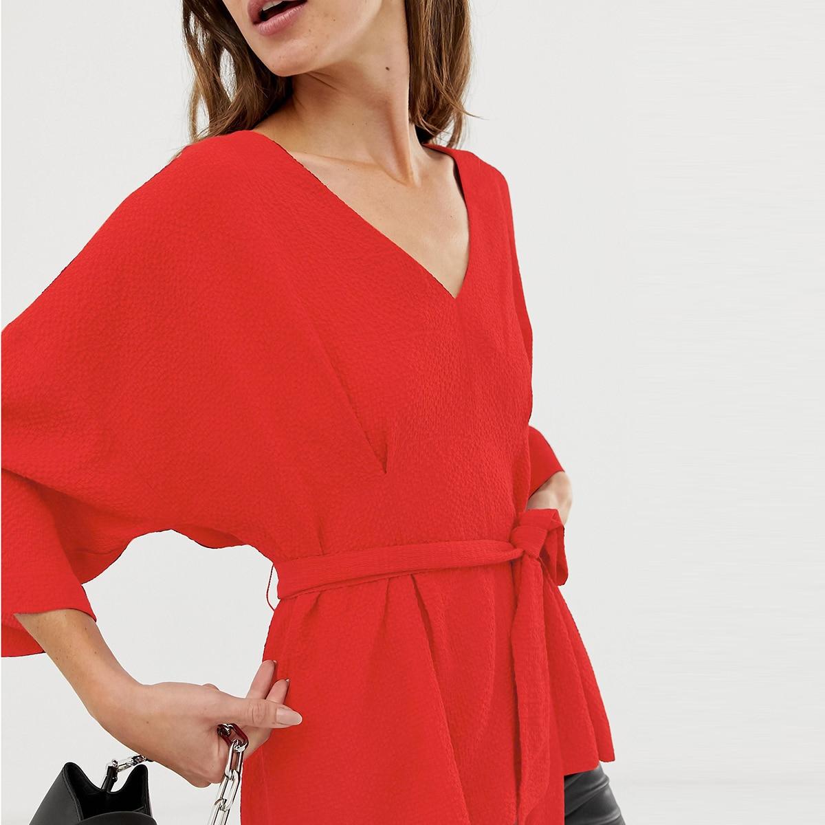 Streetwear Manches Sexy Solide rose col cou Doux V Chemise Haoyihui rouge Beige À Lâche Décontracté Hyh V pvWY5q