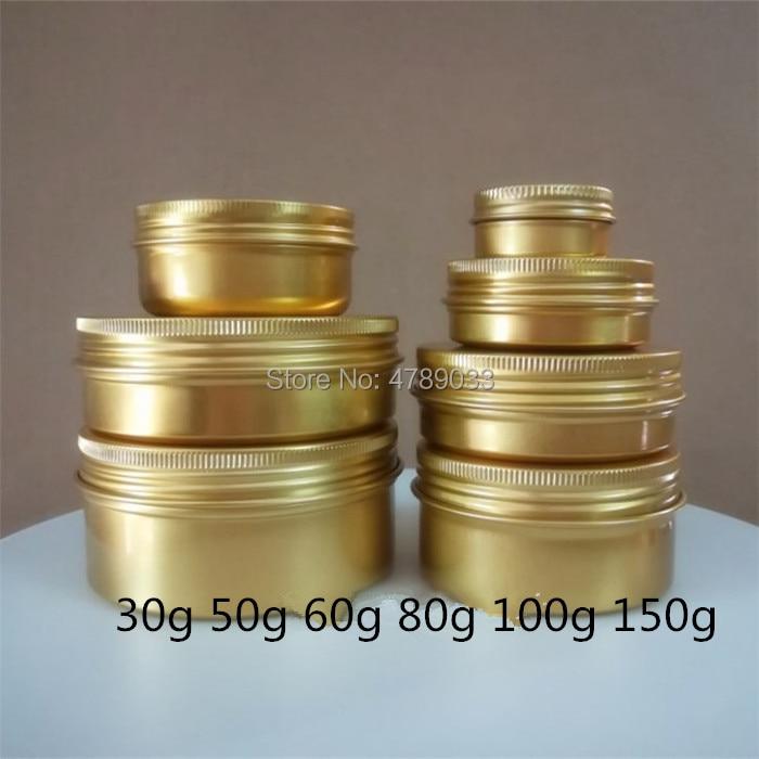 10/30/50pcs Aluminum Jar 30g 50g 60g 80g 100g 150g Metal Cream Jar, Gold Aluminum Tin, Metal Threaded Cosmetic Container
