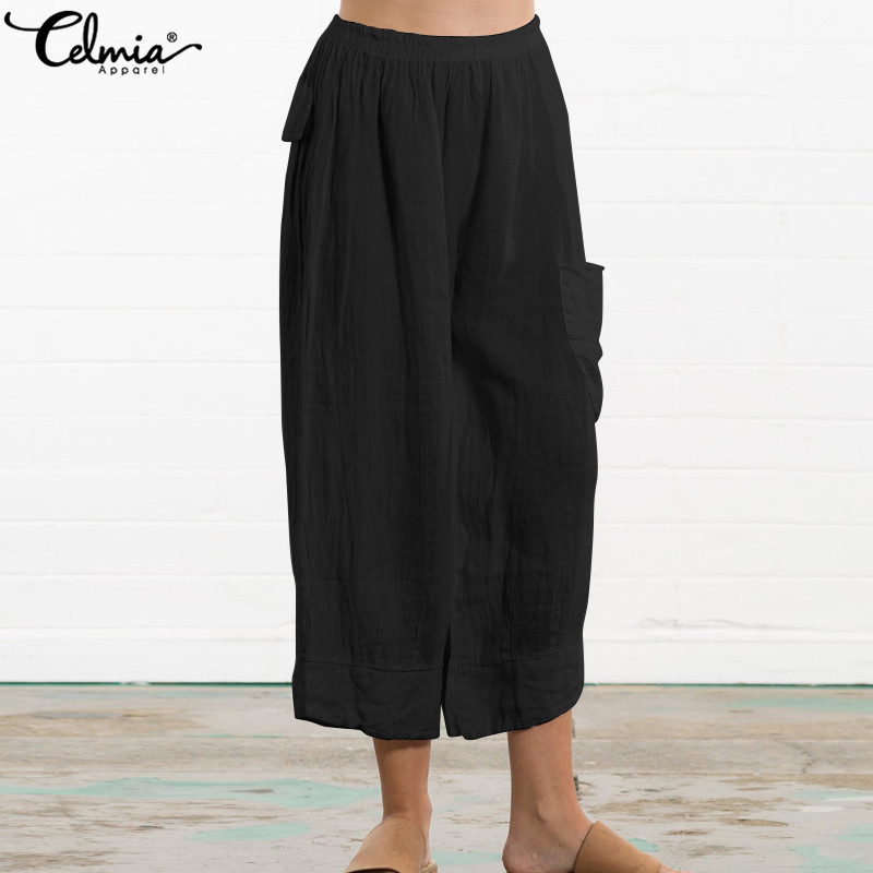 Celmia Vintage Trousers Women High Elastic Waist Harem Palazzon 2019 Summer Casual Pockets Loose Pleated   Wide     Leg     Pant   Plus Size
