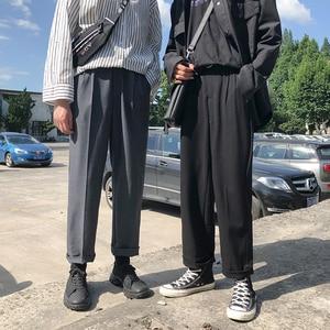 Image 1 - 2019 bahar trendi japon versiyonu okul rüzgar pantolon erkekler gevşek rahat düz renk basit Sweatpants
