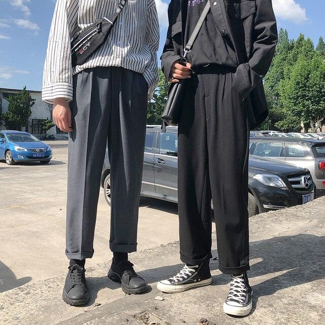 موضة الربيع 2019 النسخة اليابانية من سراويل الرياح المدرسية للرجال فضفاضة غير رسمية بلون بسيط Sweatpants