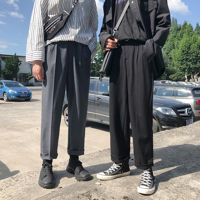 Pantalones de chándal sencillos para hombre, pantalón informal, holgado, Color sólido, versión japonesa, Tendencia de primavera, 2019