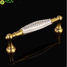 96mm Fashion Deluxe K9 Crystal Furniture Handles Glass Diamond Kitchen Cabinet Pull 24k Gold White Dresse Door Handle Pulls