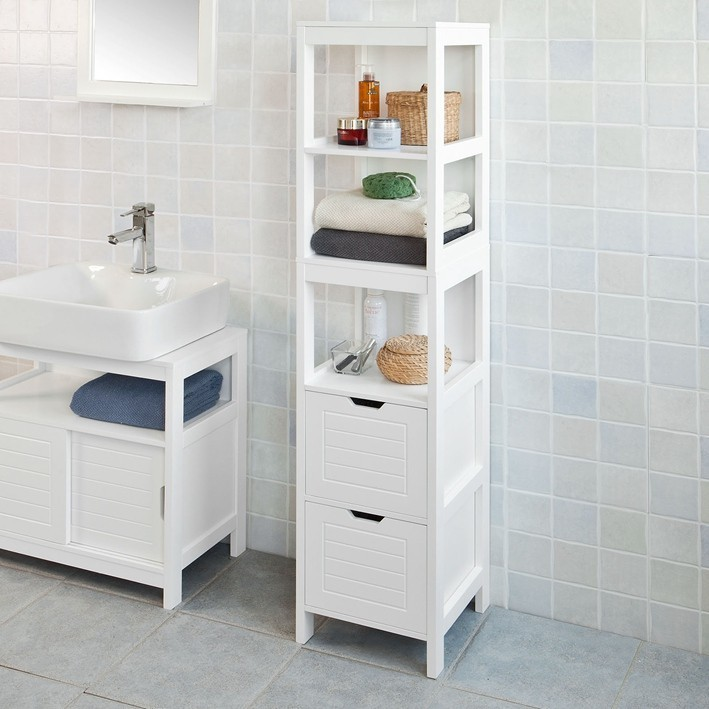 SoBuy FRG126-W White Floor Standing Tall Bathroom Storage Cabinet With 3 Shelves And 2 Drawers