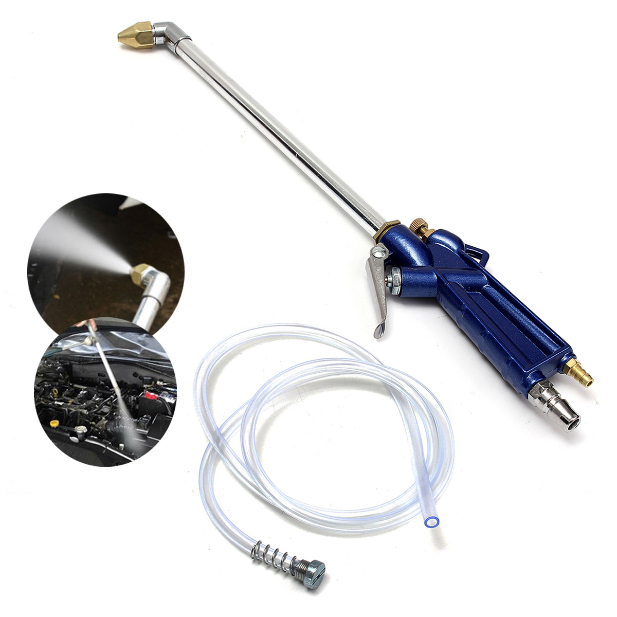 New 400mm Engine Oil Cleaning Tool Auto Automatic Cleaning Sprinkler Pneumatic Tool 100cm Hose Mechanical Parts Alloy Engine C