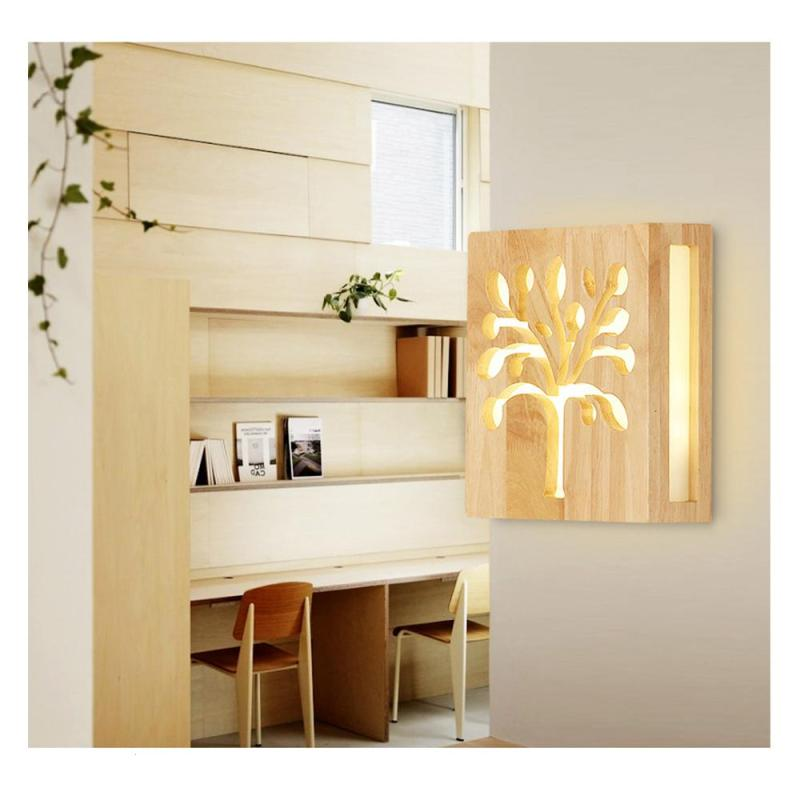 1 pcs Modern Japanese Style LED Wood Wall Lamp Creative ... on Wood Wall Sconces id=78922
