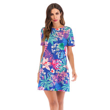 2019 Suit-dress Short Sleeve Round Neck Floral Backless Dress Spring Summer Flowery Tropical Women Sundress Mixed Color long sleeve flowery floral pastel dress