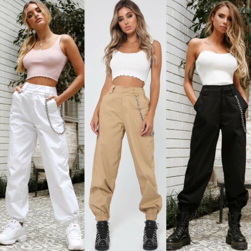 Without chain Women's Fashion Camo Cargo Trousers Pants Military Army Combat Camouflage Cargo