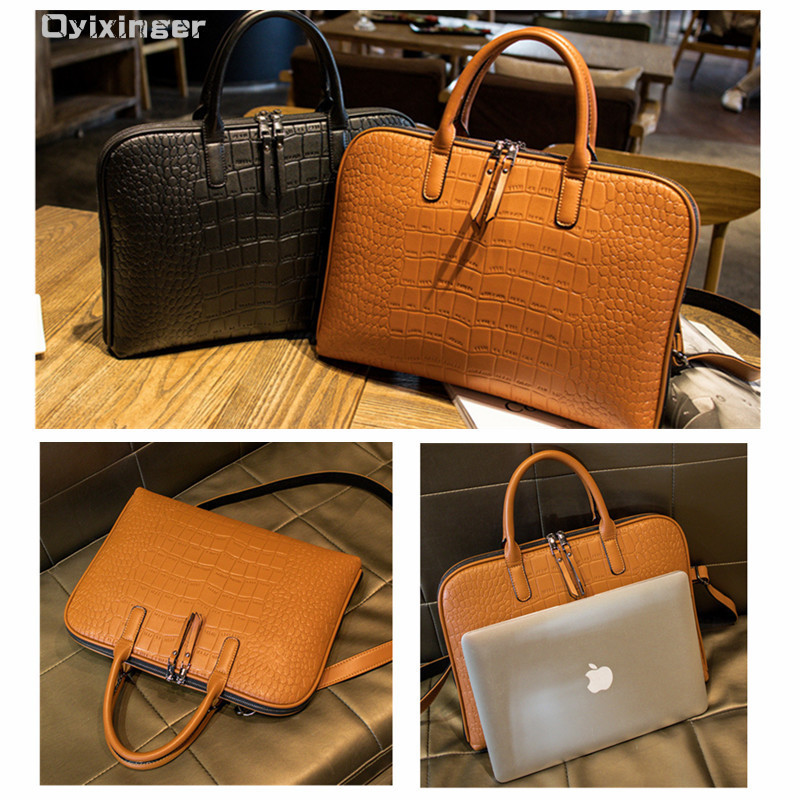 Image 3 - Business Women Briefcase Leather Handbag Woman Casual Totes 13.3 14 Inch Laptop bag Shoulder Office Bags For Ladies Briefcases