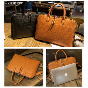 Image 3 - رجال الأعمال حقيبة جلدية حقيبة يد امرأة عادية Totes14.1 15.6 بوصة حقيبة لابتوب حقائب مكتبية الكتف للسيدات حقائب