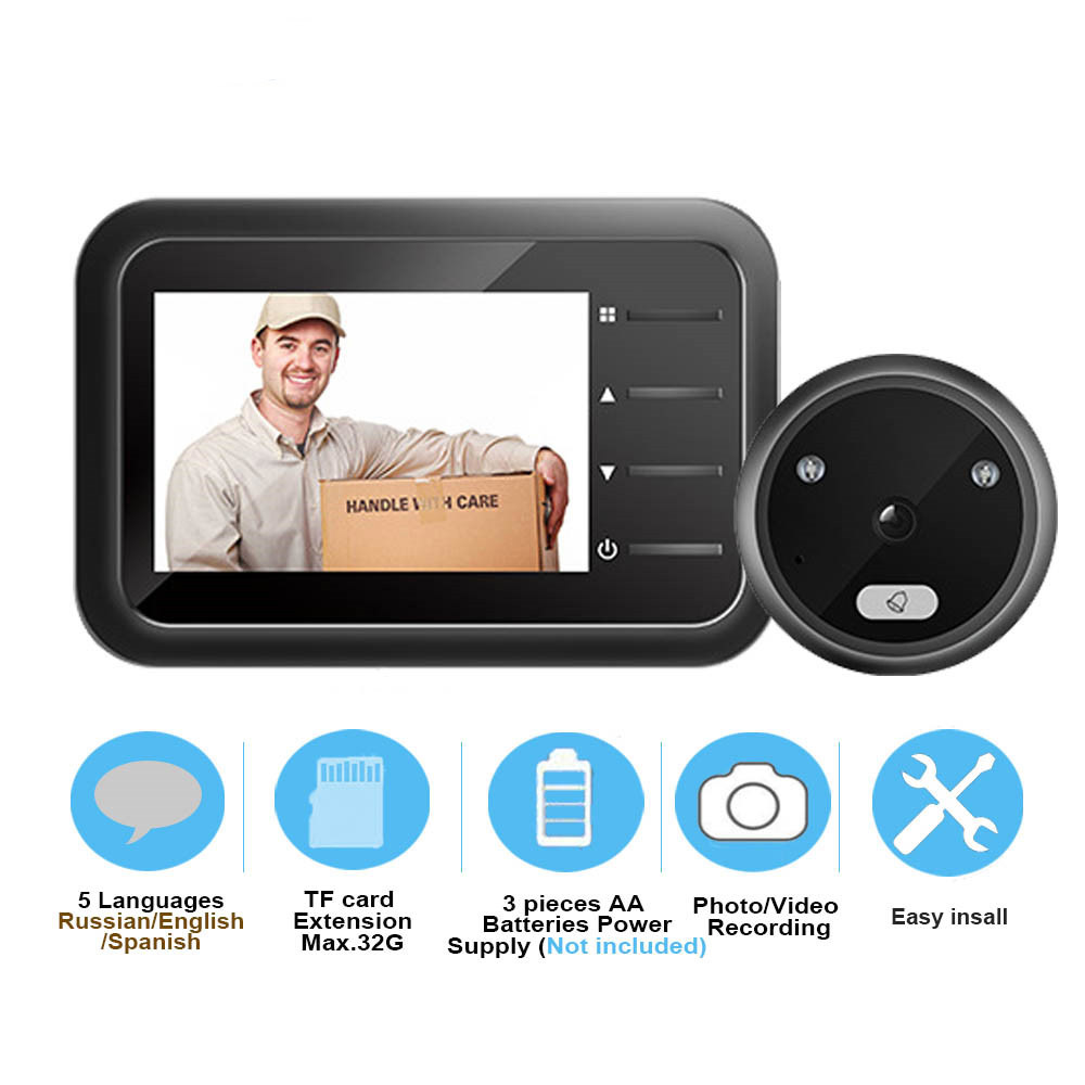 Video-eye Peephole Doorbell Camera Auto Photo Video Record Electronic Ring Night View Digital Door Viewer Home Security