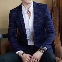 Blazer listrado dos homens dos homens dos homens dos homens do negócio magro masculino ocasional elegante blazer primavera outono dot listrado blazers