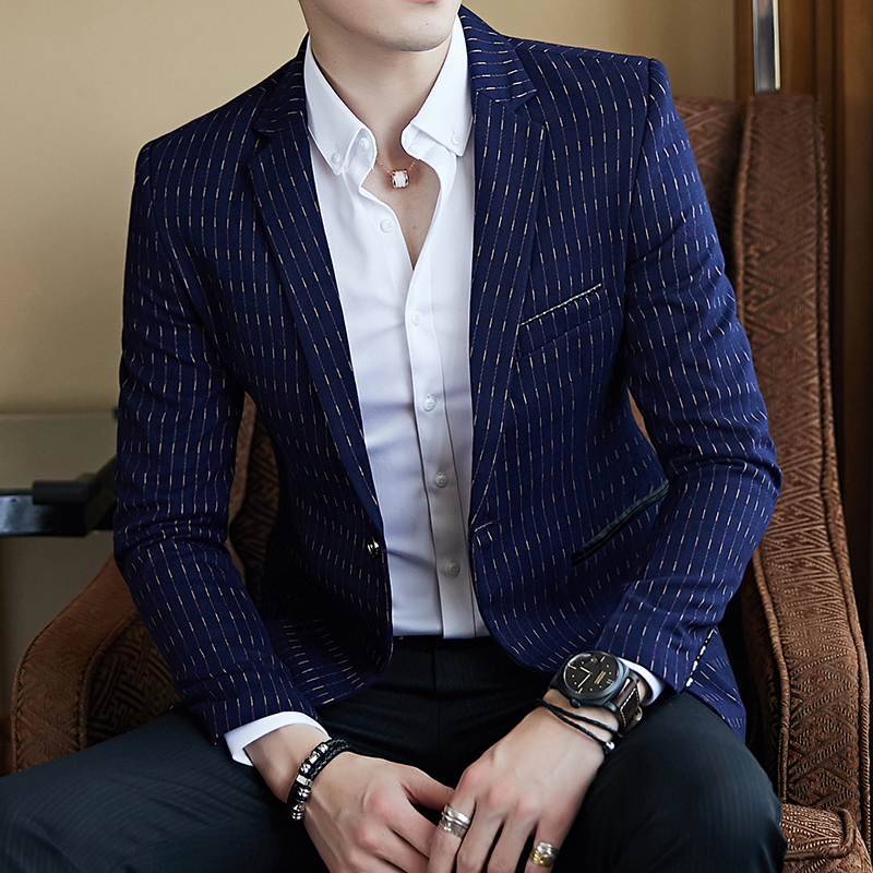 Mens Blazer listrado Slim Fit Blazer Fino Masculino Business Casual Mens Blazer Elegante Primavera Outono Dot Listrado Blazers Mens