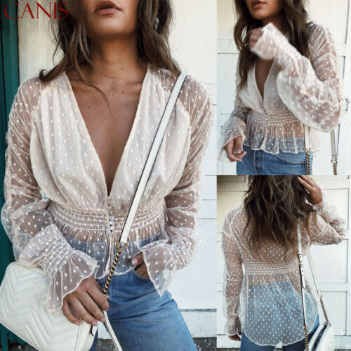 Spring Fashion Women See-through Mesh Sheer V Neck Shirts Polka Dots Waisted Blouse Long Sleeve Clubwear Casual Chic Tops