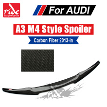 Fits For Audi A3 S3 Sedan Rear trunk spoiler Tail M4 style Highkick True Carbon fiber A3 S3 Rear Trunk Spoiler wing Lip 2013-18 a3 rear trunk spoiler wing lip small aev style carbon fiber for a3 a3q auto air rear trunk spoiler tail wing car styling 2013 in