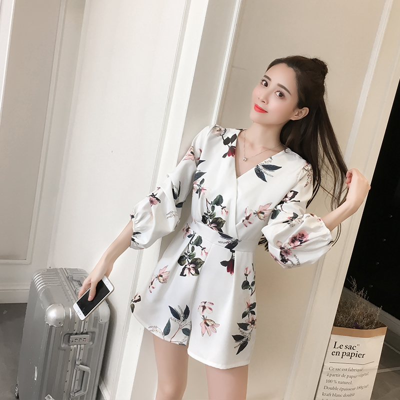 Spring summer the new Europe and the United States and sexy deep V floral print smoke plait of tall waist show thin wide legge in Rompers from Women 39 s Clothing
