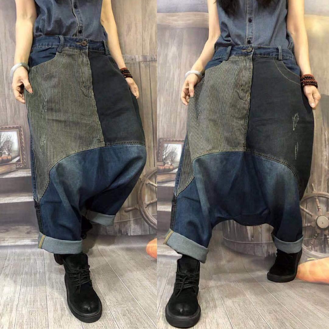 Oversized cowboy Harem Trousers Baggy Low Crotch Denim Pants Women Wide Leg dance jeans hip hop