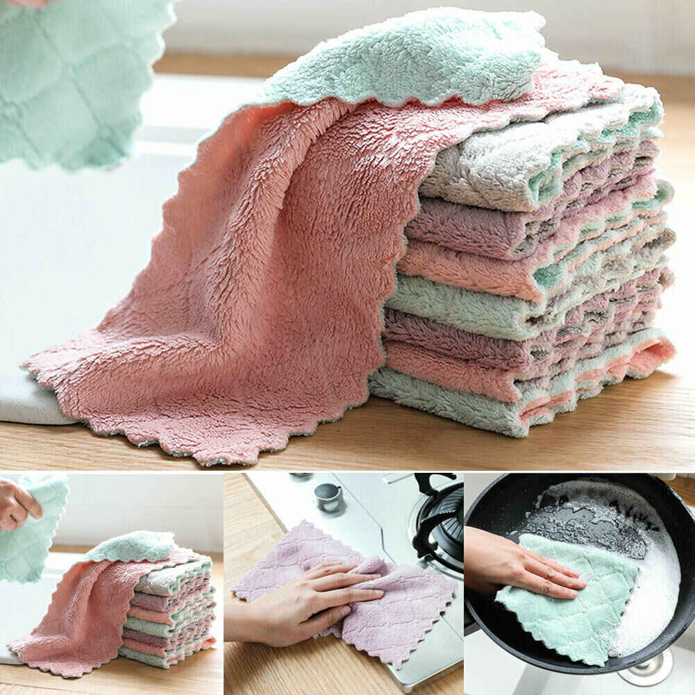 High Quality 2019 Terry Cotton Tea Towels Set Kitchen Dish Cloths Cleaning Drying Washcloths