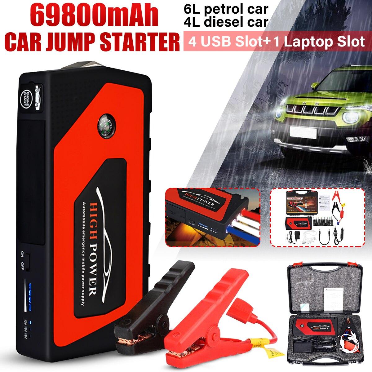 Car Jump Starter Emergency 69800mAh 12V Starting Device 4USB SOS Light Mobile Power Bank Car Charger For Car Battery Booster LED