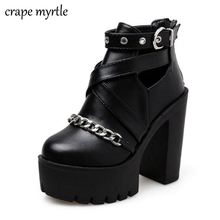 Купить с кэшбэком Fashion Chain Women Shoes Zipper Square High Heel Ankle Boots For Women Punk Shoes Platform Spring Autumn platform shoes YMA643