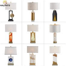 Modern Golden Marble Table Lamps For Bedroom Bedside luminaire for Living room Home Decor LED Lights Lighting