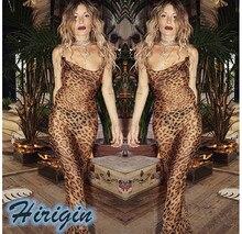 Summer Women Dresses Sexy  Leopard Print Dress Sleeveless See Though Spaghetti Strap Long Maxi