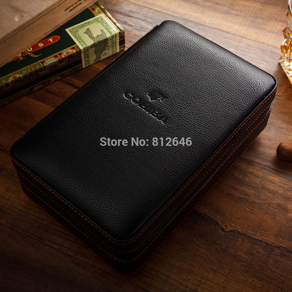 Cohiba Cigar Humidor Case Portable Cedar Wood Leather Travel Humidor Humidifier Set Gift Box (Without lighter cutter)
