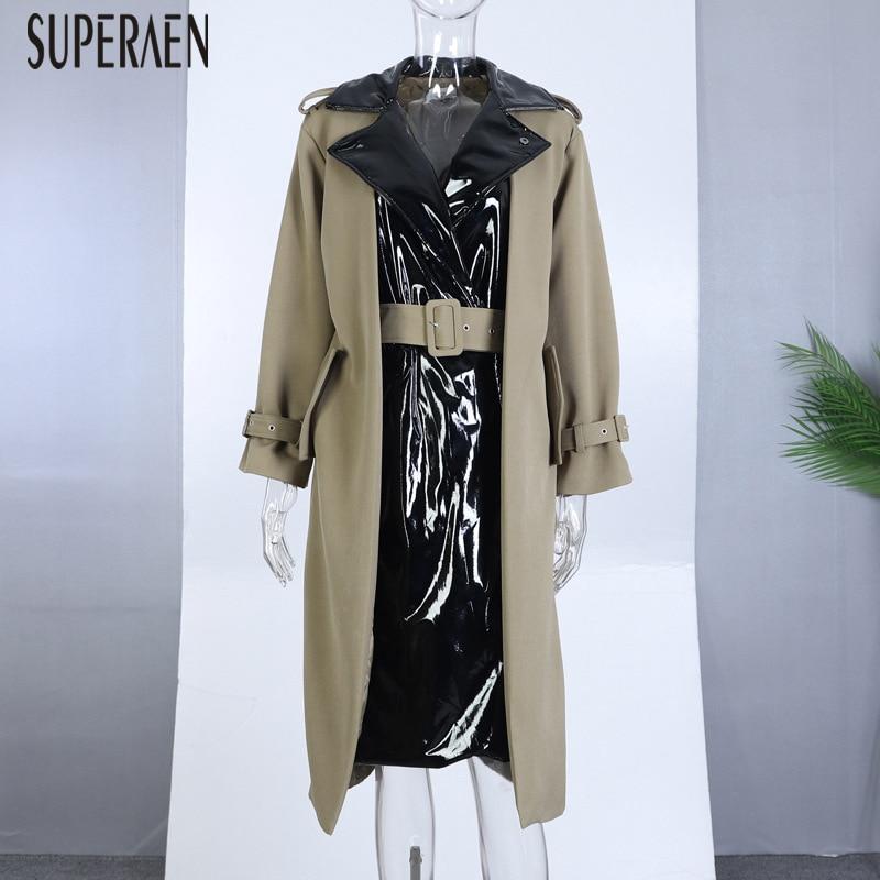 Et Manteaux Nouvelle Casual Hiver Manteau Automne Superaen Mode Sauvage Pour Longue Tranchée 2018 Cuir En vent 1 Couture Coupe Europe Femmes wxPxHWE