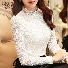 Большие размеры топы Модные женские блузки кружевная белая блузка рубашка с длинными рукавами Женские рубашки блузка Женская 1695 50