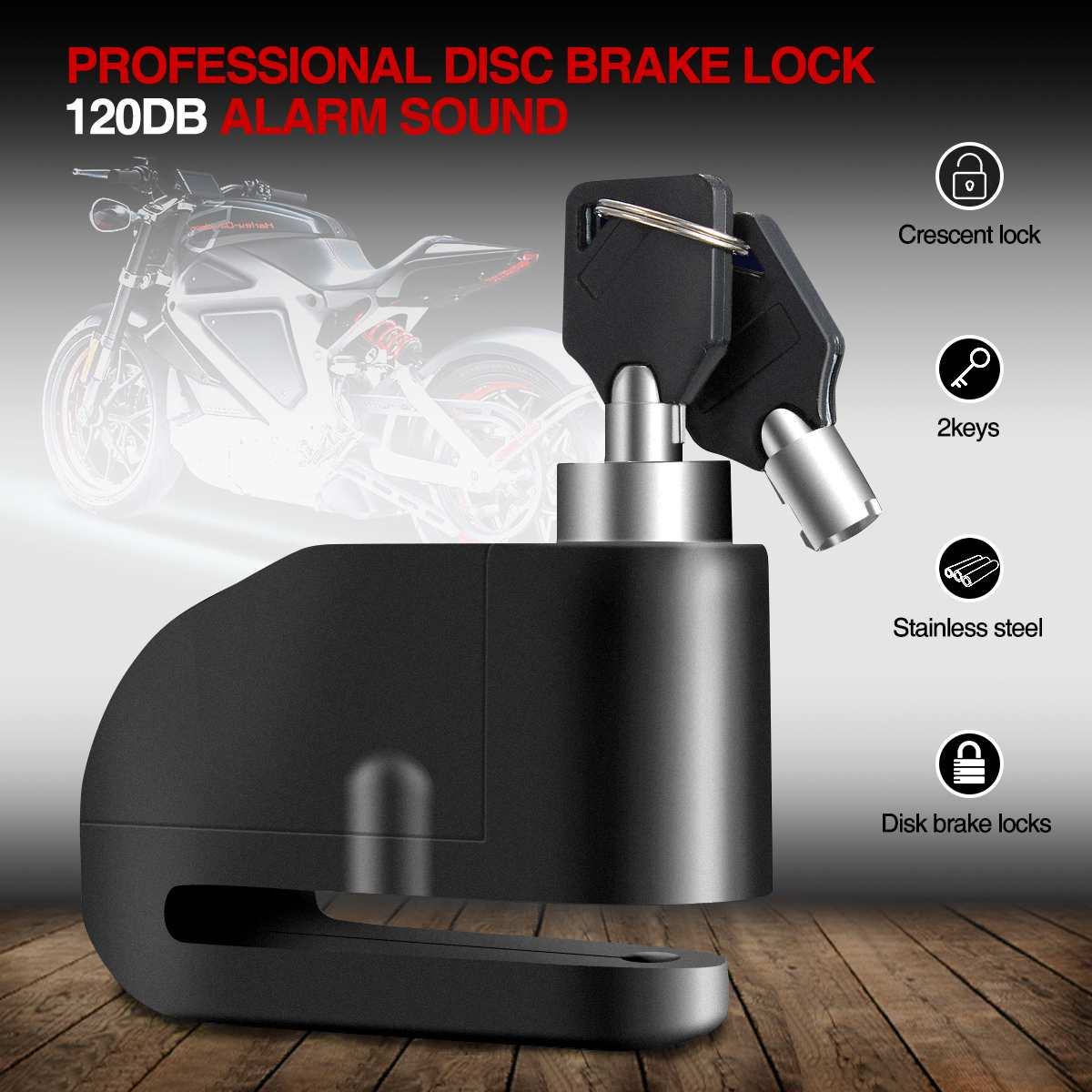 Motor Bike Motorcycle Sturdy Wheel Alarm Disc Brake Lock Security Anti Thief 120dbMotor Bike Motorcycle Sturdy Wheel Alarm Disc Brake Lock Security Anti Thief 120db