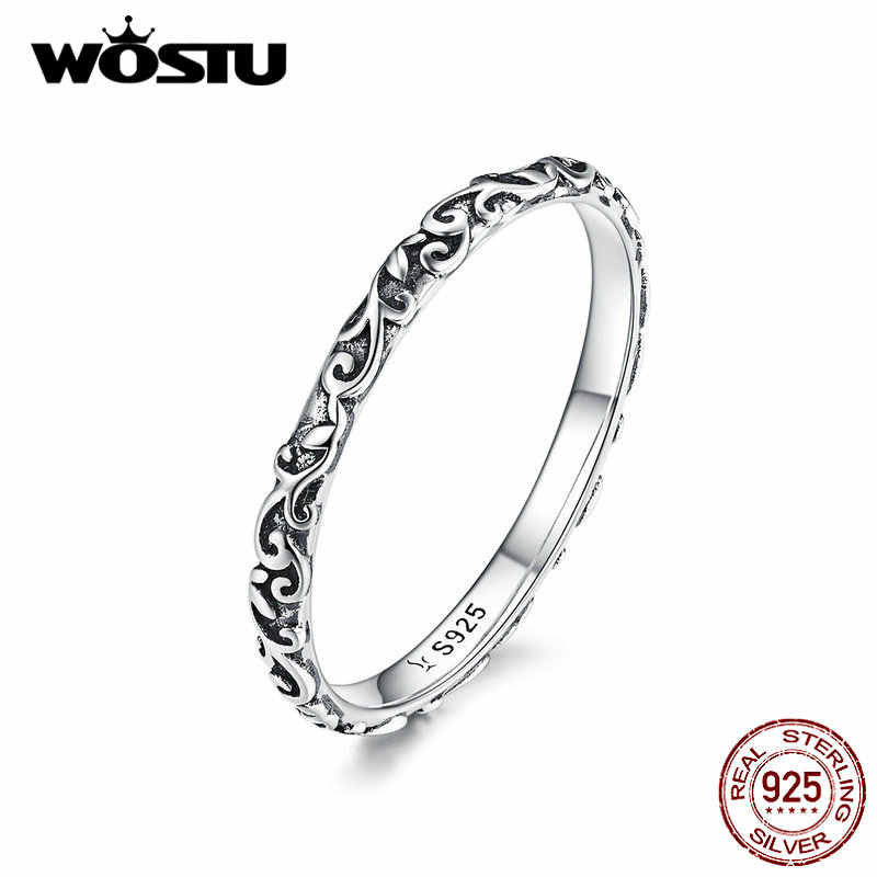 WOSTU Minimalist Flower Ring 925 Sterling Silver Delicate Rings Finger For Women Wedding Silver 925 Ring Fashion Jewelry CQR513
