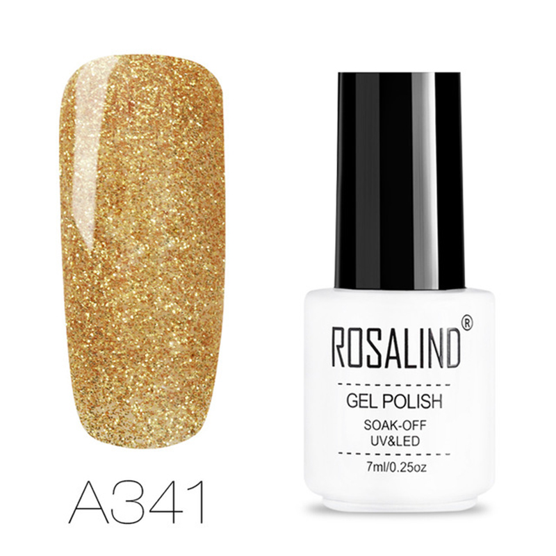 Rosalind 1 Pcs Sequin Uv Led Gel Polish Soak Off Nail Art Glitter Gold Color Nail Polish Women Nail Beauty Golden Uv Gel Varni